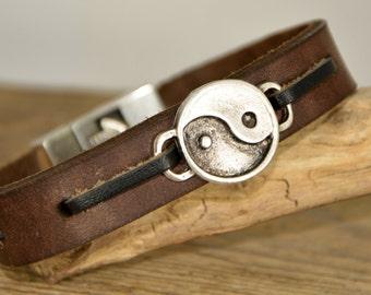 FAST SHIPPING, Ying Yang Bracelet, Mens Bracelet, Men's Leather Bracelet, Mens Gift, Best Friend Gift, Him Bracelet, Women Bracelet, For Men