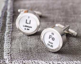 Periodic Table Cufflinks-cufflinks with chemical elements-science themed cufflinks-cufflinks for science lover-gift for dad-gift for men