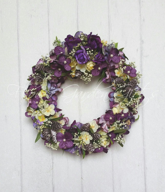 Purple Yellow Wreath Floral Wreath Hydrangea Wreath Yellow