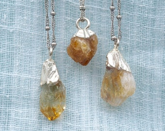 Citrine and Silver Necklace