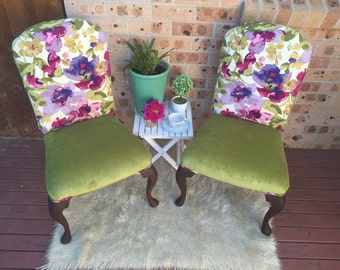 Fabric Armchairs , Dining Chairs, Upholstered Chairs,Queen Anne ,Olive .