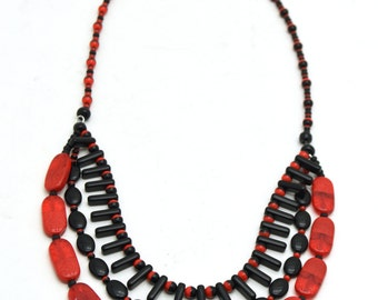 Black and Red Glass Beaded Multi Strand Necklace