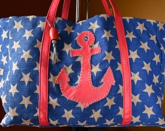 Anchor and Stars Utility Beach/Pool Tote