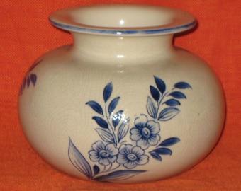 Blue and White Vase/Blue and White Round Vase/Vintage Vase/Vintage Ceramic