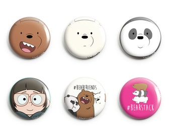 We Bare Bears Pins 6 Designs (Grizzly, Panda, Ice Bear, Chloe Park)
