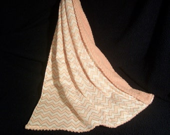 Pink and Gold ZigZag Baby Blanket