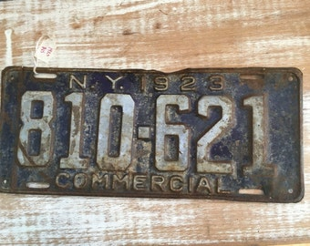 Antique Roaring Twenties NY License Plate