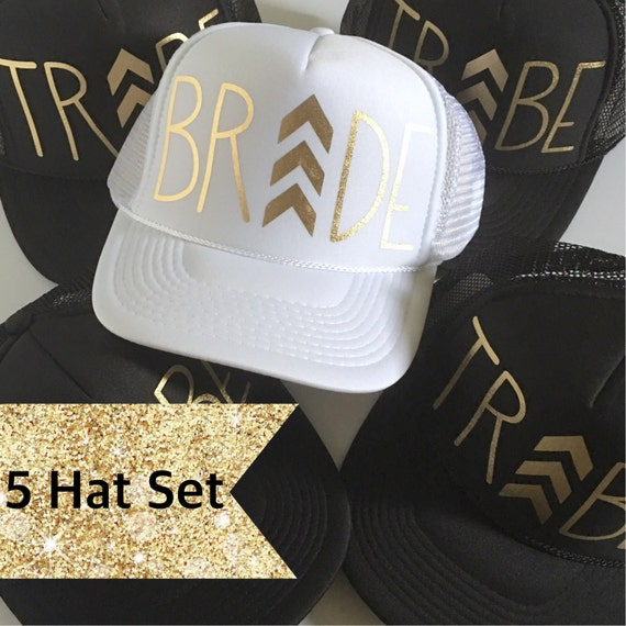 5 Chevron Bride Tribe Hat SET| Bride Hat| Bachelorette Hats| Bridesmaid Hats| Bride Tribe 1 White Bride Hat, 4 Black Tribe Hats-Printed