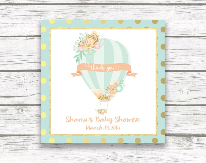 """Hot Air Balloon Square Favor Tags, Peach and Mint Gold Foil Birthday Party Baby Shower Printable 2"""" Square Favor Tag Stickers, Floral Flower"""