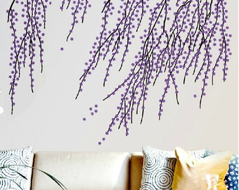 Purple Cherry Blossom Wall Decal-Blowing Flower Wall Decal-Vinyl Cherry Blossom Wall Murals-Cherry Blossoms Branch Wall Decal Art