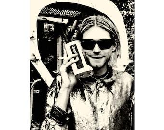 Kurt Cobain poster Kurt Cobain print Kurt Cobain photo Nirvana poster Nirvana print Cool poster Rock music poster Seattle grunge-PRINT