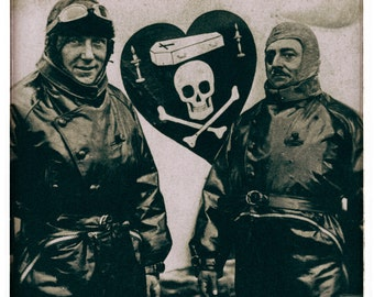WWI photo World War I WW1 photograph vintage photography Ace fighter pilots jolly rogers skull cross bones antique photo 1900s-PRINT