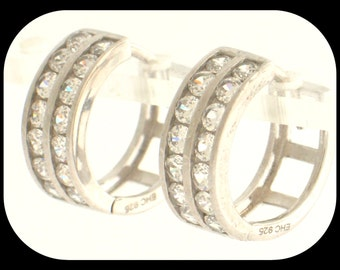 New 925 Sterling Silver 2 Lines Huggie EARRINGS Round-Cut Cubic Zirconia CZ 9/16""