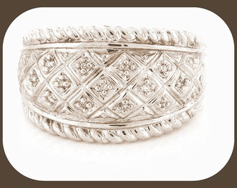 New Cluster 13 Diamonds 925 Sterling Silver Wide Cluster Band RING