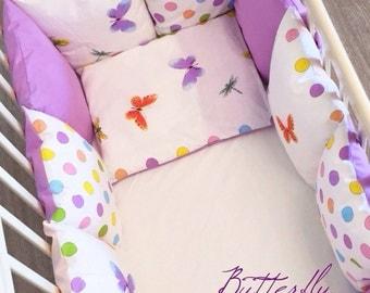 Butterfly Baby bedding, Crib Bedding, Baby Girl Bedding, Girl Crib Bedding, Nursery Bedding, Modern Baby Gift Crib Baby Bumper Pads