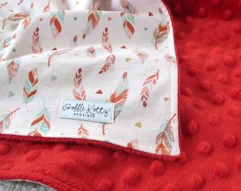 Baby Blanket - Baby Girl Blanket - Bohemian Blanket - Tribal Blanket - Feather Blanket - Red Minky Blanket - Pink Red Baby Blanket