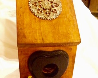 Rustic Select Pine Bird House with upcycled accents