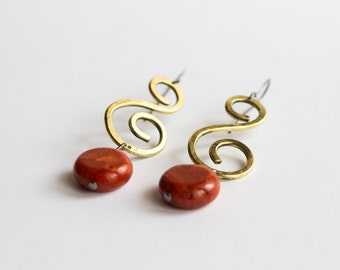 Earrings | Brass| Red stone