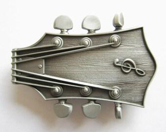 Guitar Head Music Musician Country Antique Silver Metal Belt Buckle