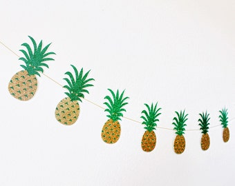 Pineapple Garland - Pineapple Banner - Pineapples - Glitter Pineapple - Luau Party - Luau Bridal Shower - Aloha Bride - Aloha Bridal Shower