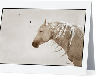 """Wild horse note card with wild horse print """"Tranquility"""" on front, blank inside"""