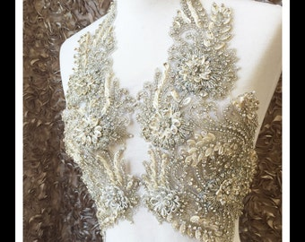 Silver Beaded Embroidery  Anjel Wings