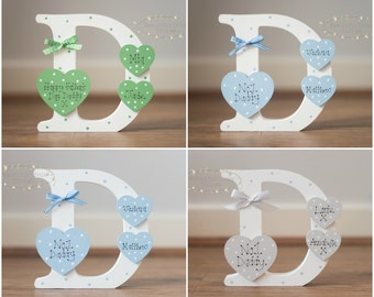 Personalised Letter D Dad Daddy Fathers Day Birthday Gift Any Colour Added Name Hearts x2