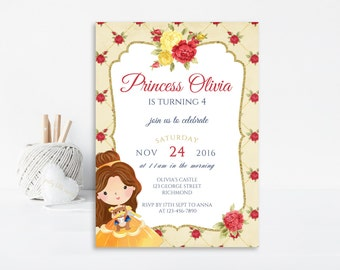Beauty and the Beast Invitation, Belle Invitation, Birthday Invitation, Princess Invitation, Princess Birthday, Printable Invitation, Invite