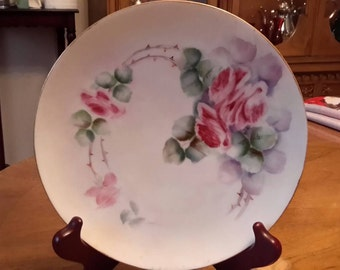 Thomas Sevres Bavaria antique Thomas Sevres Bavaria Roses with Thorns hand painted Display Plate Signed 6 inch 1903 -1939, shabby chic,