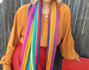 80s rainbow stripe scarf