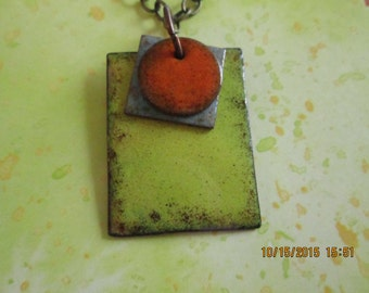 3 piece geometric copper enamel necklace