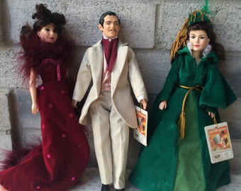1989 Gone with the Wind Dolls and 1978 Arthur A. Kaplan framed Lithograph, Scarlette O'hera doll,  Rhett doll