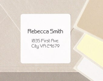 "minimalist GEOMETRIC font return address label stickers modern personalized square 20 medium 2"" labels plain white cream tan"
