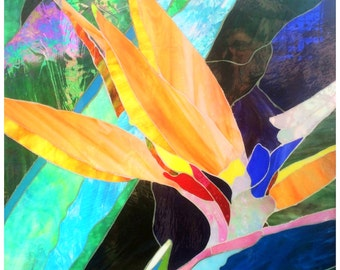 Bird of Paradise - 52x52 cm, Glass Art Mosaic Window panels