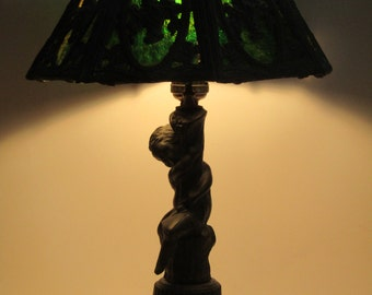 Art nouveau lamp etsy art nouveau stained slag glass table lamp shade aloadofball Gallery
