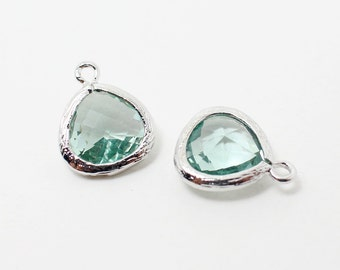 G002210/Erinite/Rhodium plated over brass/Small teardrop faceted glass Pendant/11x13mm/2pcs