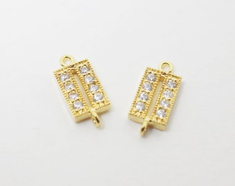 P0401/Anti-tarnished Gold Plating Over Brass/Cubic Zirconia Square Connector/6x13mm/2pcs