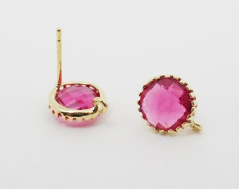 E008608/Ruby/Faceted Glass +Gold Plated Over Brass Frame+Sterling Silver Post/Tooth Framed Circle Glass Earrings/9x 9mm/2pcs