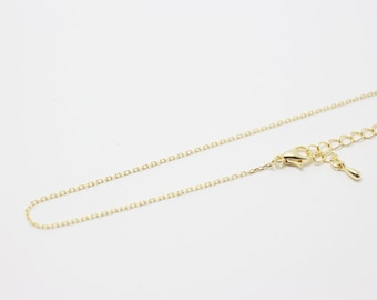 N0036/Anti-Tarnished Gold Plating Over Brass/230 4DC Finished + extension/16 inches/6pcs