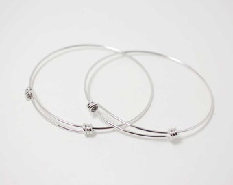 L0001/Anti-tarnished Rhodium Plating Over Brass/Adjustable Bangle Bracelet for Charms/68mm x 65mm,1.3m thickness/1pcs