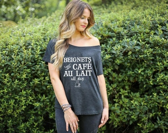 Beignets and Cafe Au Lait All Day NOLA Coffee Tshirt