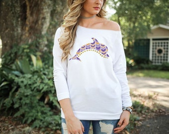 Tri Delta Dolphin Purple and Gold LSU Tshirt