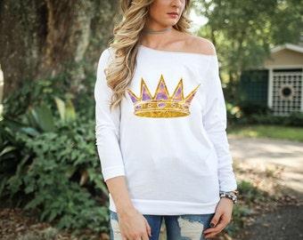 LSU Zeta Tau Alpha Purple and Gold Crown Tshirt
