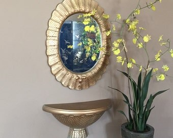 Gold Mirror with Shelf / Vintage Oval Mirror / Vintage Gold Mirror / Small Gold Mirror