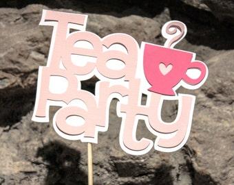 Tea Party Cake Topper or Centerpiece Stick Cutout