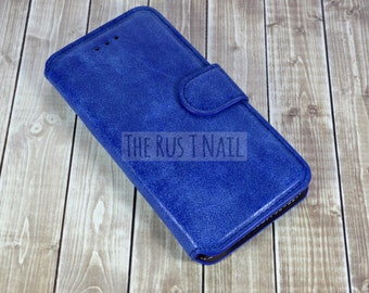 FREE Screen Protector - BLUE iPhone 6s Wallet Case - Genuine Leather