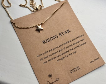 Rising star Gold dipped star charm Pendant chain necklace with Sentiment card gift quote quotes Birthday Anniversary Wedding