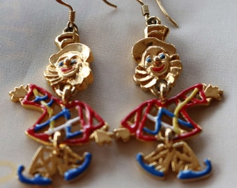 KK/ED Signd Articulated Clown Earrings Gold Tone and Enamel
