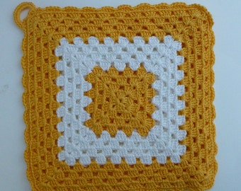 Vintage Yellow and White Square Crocheted Pot Holder with Loop