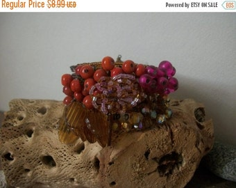 ON SALE Vintage Bejeweled Chunky Wire Wrap Bracelet Cuff 1548